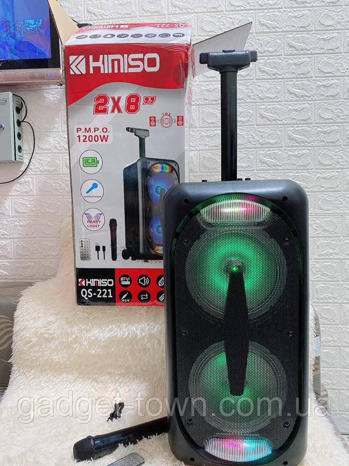 Акустическая аккумуляторная колонка 2x8 дюймов (USB/FM/BT/LED) KIMISO QS-211 BT