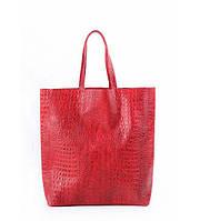 Сумка женская кожаная POOLPARTY City Leather City Bag Crocodile красная, фото 1