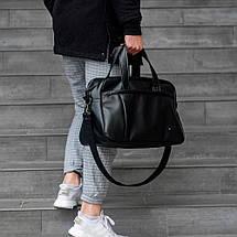 Черная кожаная мужская | женская спортивная сумка (Эко кожа) для фитнеса и тренировок. Стильная дорожная сумка, фото 3