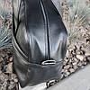 Черная кожаная мужская | женская спортивная сумка (Эко кожа) для фитнеса и тренировок. Стильная дорожная сумка, фото 5