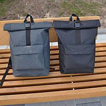 Чорний чоловічий   жіночий рюкзак Рол Топ з міцної тканини. Міський, повсякденний, дорожній рюкзак, фото 3