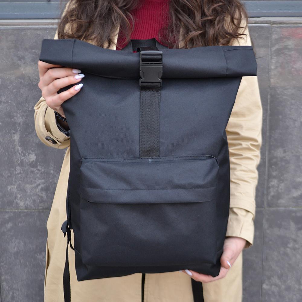 Чорний чоловічий   жіночий рюкзак Рол Топ з міцної тканини. Міський, повсякденний, дорожній рюкзак