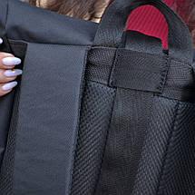 Чорний чоловічий   жіночий рюкзак Рол Топ з міцної тканини. Міський, повсякденний, дорожній рюкзак, фото 2