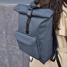Сірий чоловічий   жіночий рюкзак Рол Топ з міцної тканини. Міський, повсякденний, дорожній рюкзак, фото 3