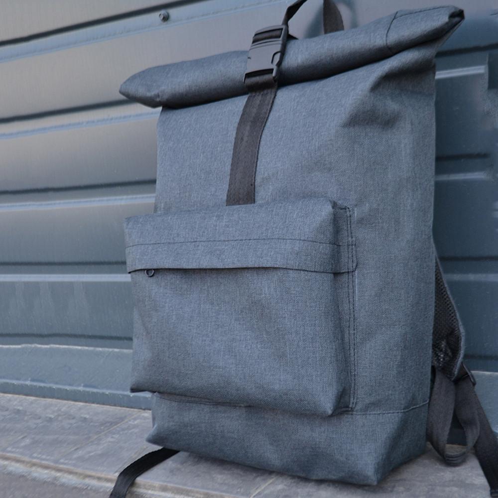 Сірий чоловічий   жіночий рюкзак Рол Топ з міцної тканини. Міський, повсякденний, дорожній рюкзак
