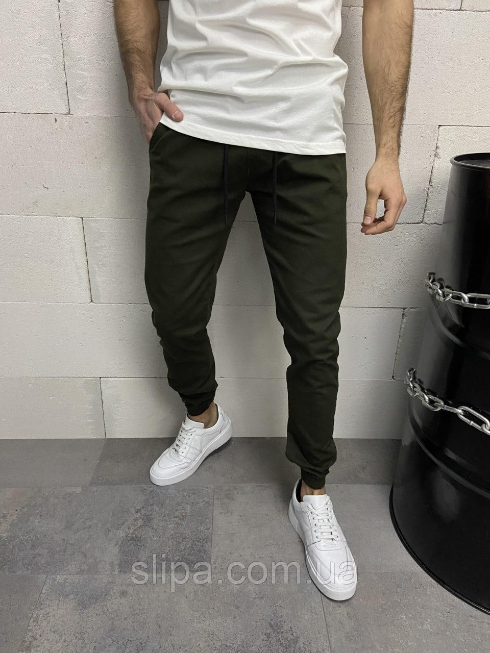 Хакі чоловічі спортивні штани на гумках | Туреччина | бавовна + лікра