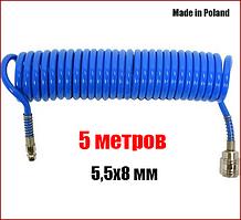 Шланг пневматический спиральный полиуретановый 5,5х8 мм 5 метров Yato YT-24201