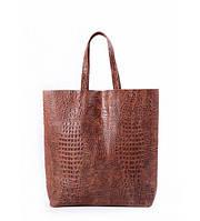 Сумка женская кожаная POOLPARTY City Leather City Bag Crocodile коричневая