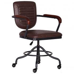 Кресло парикмахерское для barbershop Barber металл Черный кожзам Коричневый (AMF-ТМ)