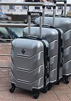 Чемодан ручная кладь мини серебряный из пластика, дорожный Xs на 4 колеса для самолета