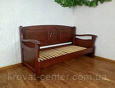 """Дерев'яний диван ліжко """"Орфей Преміум - 3"""" (з фігурним підлокітником) від виробника"""