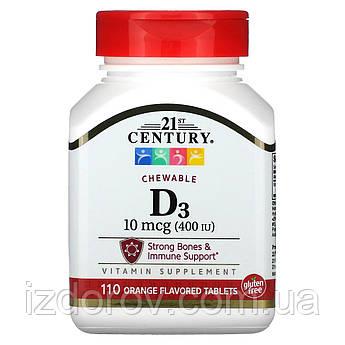 21st Century, Витамин D3, со вкусом апельсина, 400 МЕ, 110 жевательных таблеток