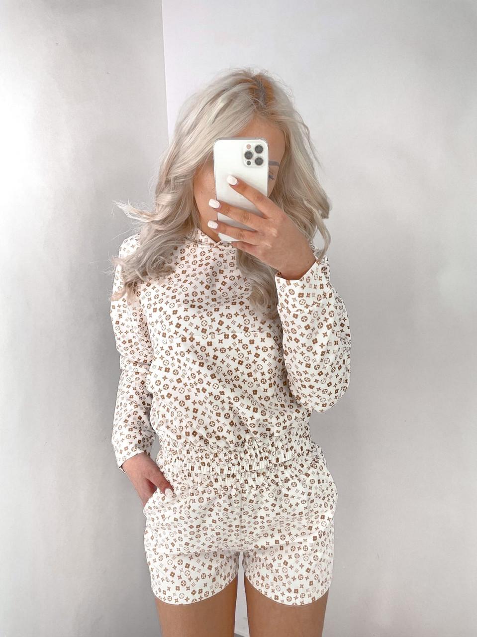 Зручний прогулянковий костюм жіночий двійка (кофта + шорти), 00761 (Білий), Розмір 46 (L)