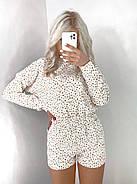 Зручний прогулянковий костюм жіночий двійка (кофта + шорти), 00761 (Білий), Розмір 46 (L), фото 2