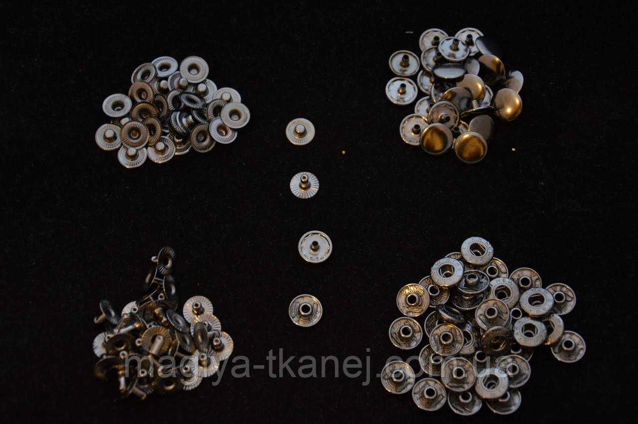 Кнопка системы альфа 12,5 мм антик золото