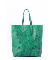 Сумка женская кожаная POOLPARTY City Leather City Bag Crocodile зелёная