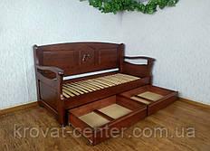 """Диван ліжко з висувними ящиками """"Орфей Преміум - 3"""" (з фігурним підлокітником) від виробника"""
