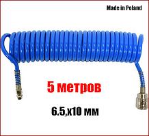 Шланг пневматический спиральный полиуретановый 6,5х10 мм 5 метров Yato YT-24204