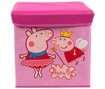 Корзина/пуфик для детских игрушек M 5765 32х32х30 (Свинка Пеппа)