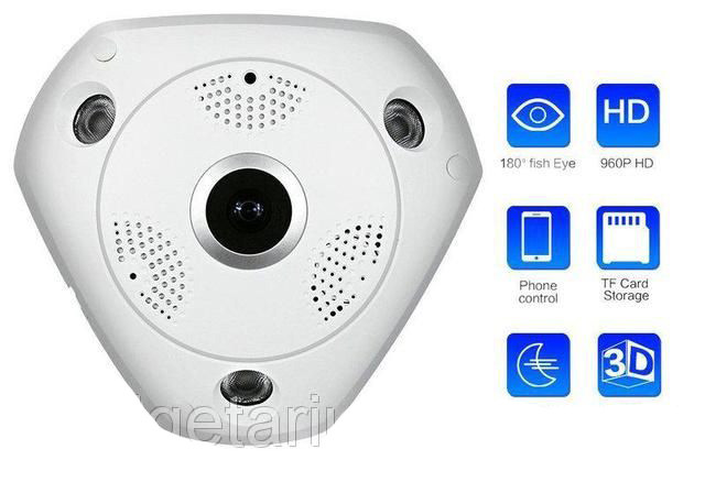 Панорамная IP Камера Видеонаблюдения Потолочная VR CAM 3D Wi-Fi DVR