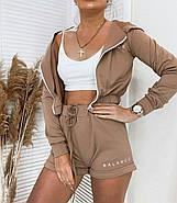 Ультрамодний спортивний жіночий костюм трійка (кофта, шорти, топ), 00768 (Мокко), Розмір 44 (M), фото 3