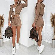Ультрамодний спортивний жіночий костюм трійка (кофта, шорти, топ), 00768 (Мокко), Розмір 44 (M), фото 5