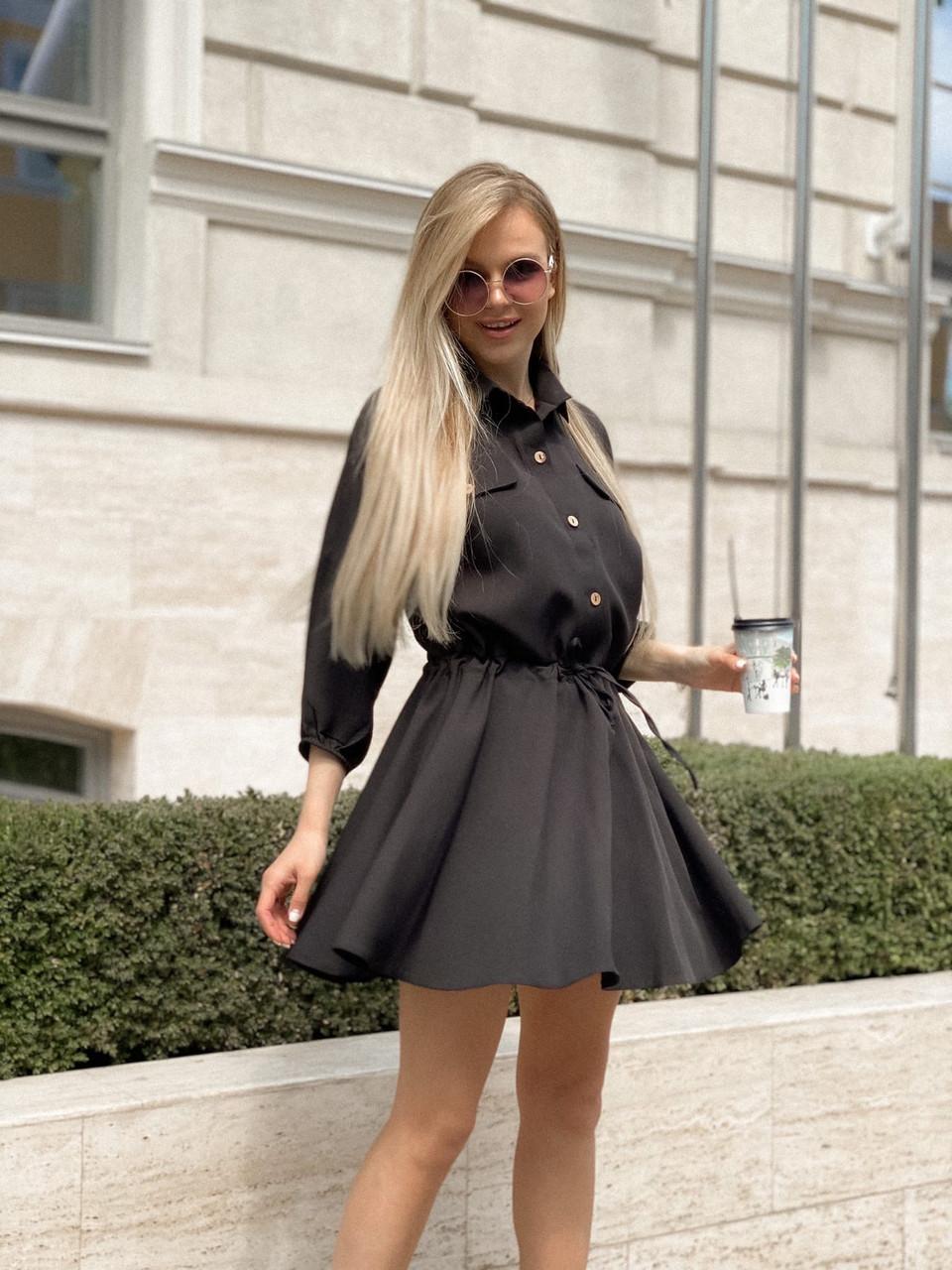 Легкое летнее женское платье, рукав фонарик ¾, юбка клеш, 00765 (Черный), Размер 44 (M)