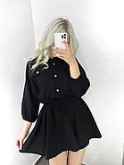 Легке літнє жіноче плаття, рукав ліхтарик ¾, спідниця кльош, 00765 (Чорний), Розмір 44 (M), фото 2