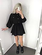Легкое летнее женское платье, рукав фонарик ¾, юбка клеш, 00765 (Черный), Размер 44 (M), фото 3