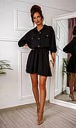 Легкое летнее женское платье, рукав фонарик ¾, юбка клеш, 00765 (Черный), Размер 44 (M), фото 6