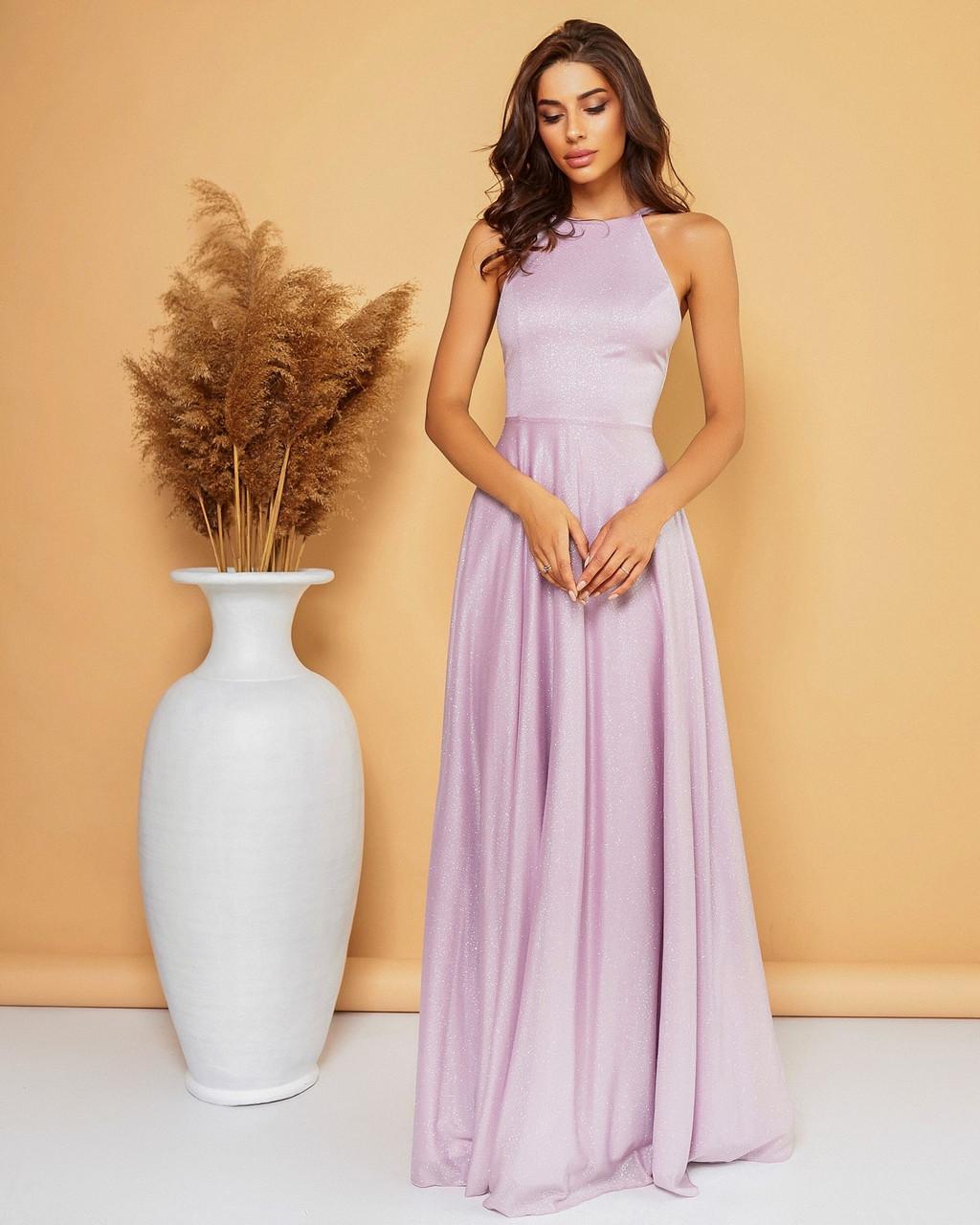 Вечернее платье длиною  в пол с открытой спиной, 00764 (Лиловый), Размер 44 (M)