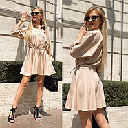 Повседневное летнее платье с резинкой на талии, расклешенная юбка, 00766 (Бежевый), Размер 44 (M), фото 2