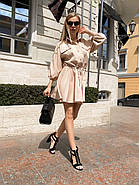 Повседневное летнее платье с резинкой на талии, расклешенная юбка, 00766 (Бежевый), Размер 44 (M), фото 3