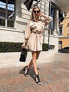 Повсякденне літнє плаття з резинкою на талії, розкльошена спідниця, 00766 (Бежевий), Розмір 44 (M), фото 3