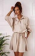 Повсякденне літнє плаття з резинкою на талії, розкльошена спідниця, 00766 (Бежевий), Розмір 44 (M), фото 5