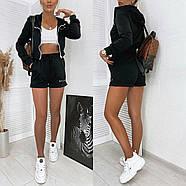 Стильный женский прогулочный костюм тройка (шорты и кофта + топ), 00767 (Черный), Размер 44 (M), фото 2