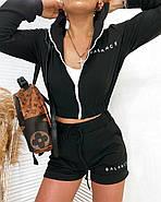 Стильный женский прогулочный костюм тройка (шорты и кофта + топ), 00767 (Черный), Размер 44 (M), фото 3