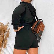 Стильный женский прогулочный костюм тройка (шорты и кофта + топ), 00767 (Черный), Размер 44 (M), фото 5