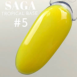Новинка - кольорові бази для манікюру SAGA tropical BASE для нігтів жовтий неон - в асортименті 7 кольорів