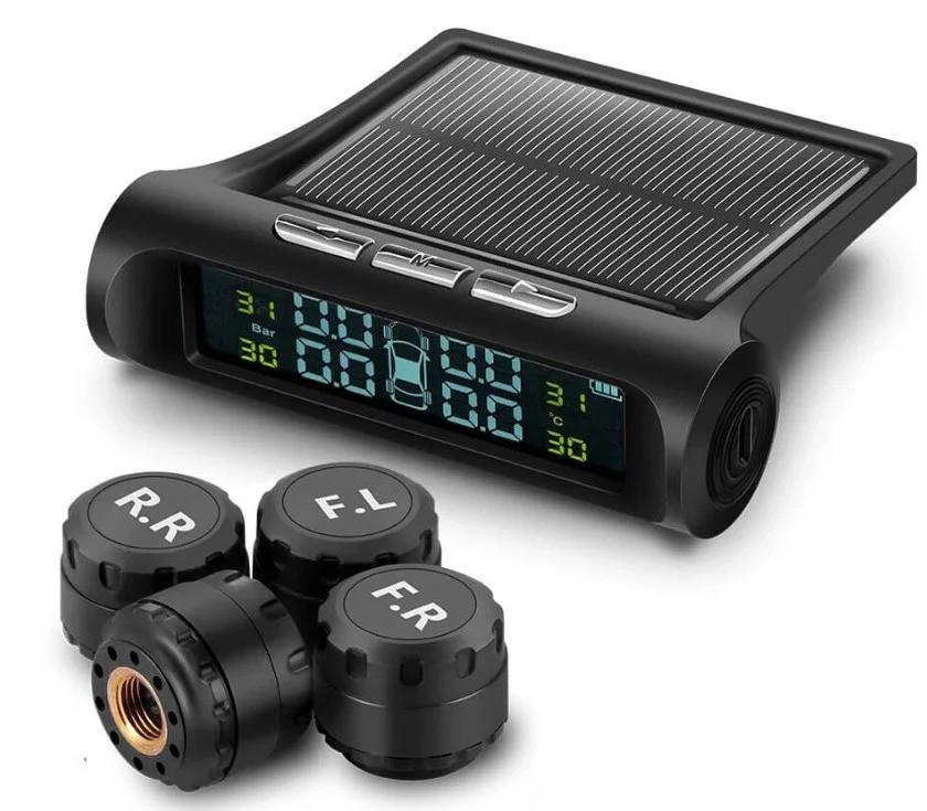 Система контролю тиску і температури в шинах TPMS з датчиками і сонячною панеллю