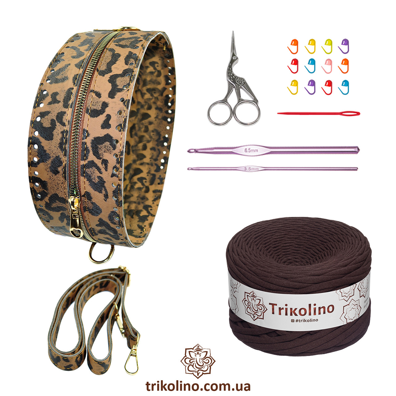 Набор для сумки Неаполь, цвет Тигровый (пряжа - Шоколад)