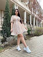 Шикарное женское летнее платье миди цветочный принт