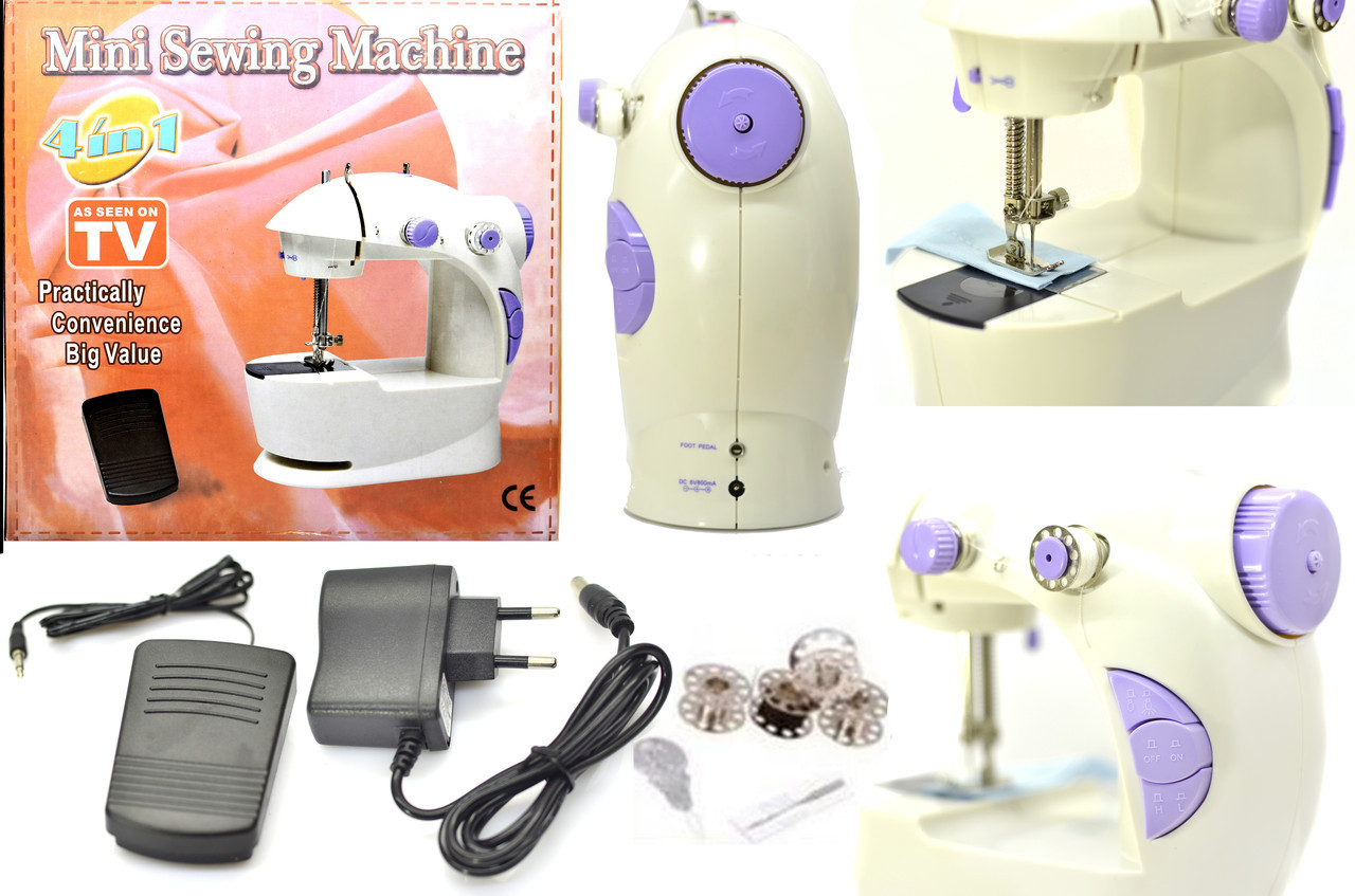 Портативна Міні швейна машинка 4 в 1 з педаллю + адаптер 220