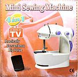 Портативна Міні швейна машинка 4 в 1 з педаллю + адаптер 220, фото 3