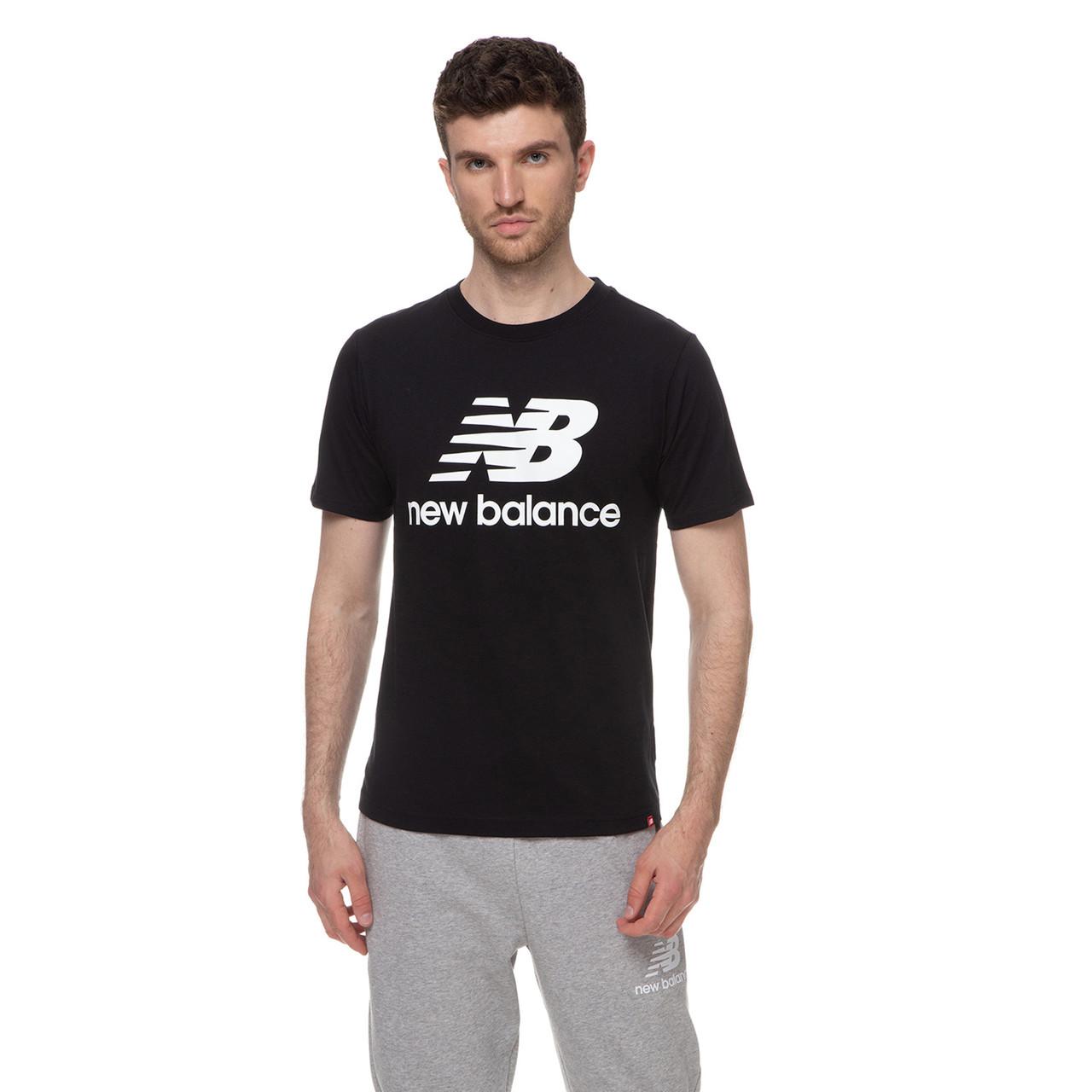 Футболка мужская New Balance Essentials Stacked Logo черная (MT01575BK)