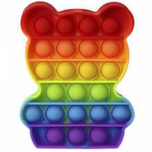 М'яка іграшка антистрес, нескінченна пупырка Pop It Райдужний ведмедик