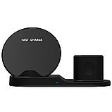 Док станция wireless fast charger 3in1 Телефон,часы,наушники, фото 5
