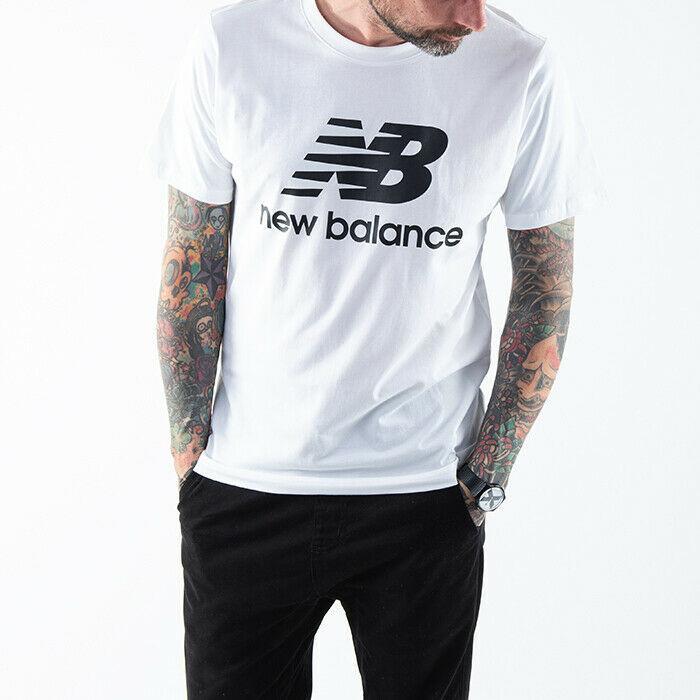 Футболка мужская New Balance Essentials Stacked Logo белая (MT01575WT)
