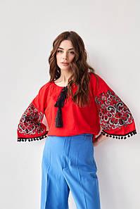 """Женская блуза с бубонами """"Этностиль"""""""