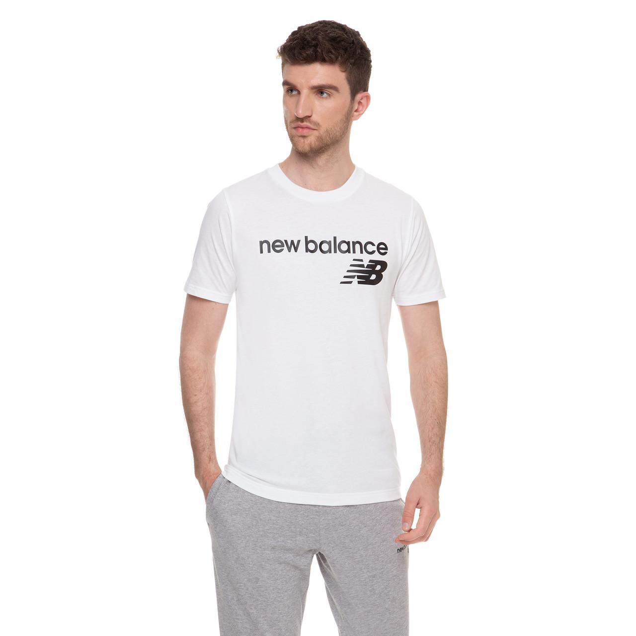 Футболка мужская New Balance Classic Core Logo белая (MT03905WT)